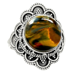 Bali Design - Pietersite 925 Sterling Silver Ring Jewelry s.9 RR215839