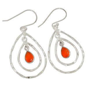 Carnelian 925 Sterling Silver Earrings Jewelry 28967E
