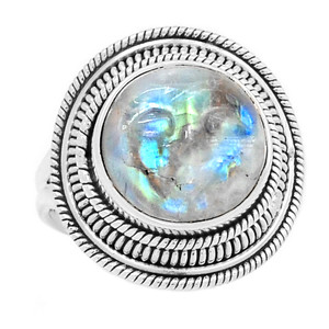 Balinese Goddess Carved Face Rainbow Moonstone 925 Silver Ring s.8.5 RR207879