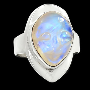 Balinese Goddess Carved Face - Rainbow Moonstone 925 Silver Ring s.6 RR221713