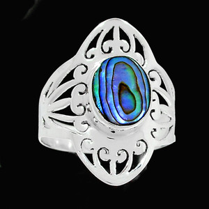 Artisan - Mermaids Dream Abalone 925 Sterling Silver Ring Jewelry s.9.5 RR206384