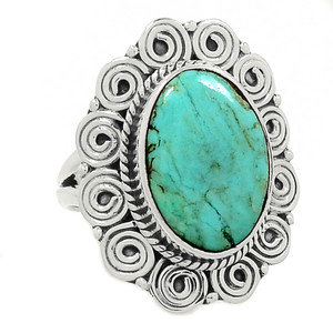 Sleeping Beauty Turquoise 925 Sterling Silver Ring Jewelry s.6 AR1130