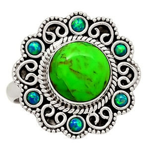 Bali Design - Mohave Green Turquoise & Fire Opal 925 Silver Ring s.8 29029R