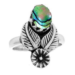 Leaves - Mermaids Dream Abalone 925 Sterling Silver Ring Jewelry s.6.5 RR206433