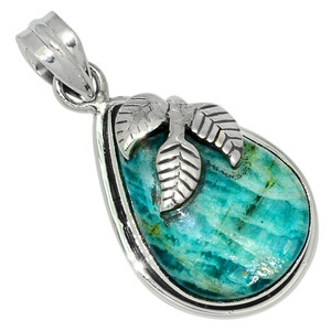 Leaves - Russian Amazonite 925 Sterling Silver Pendant Jewelry 28582P