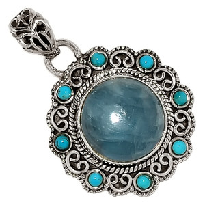 Aquamarine & Sleeping Beauty Turquoise 925 Silver Pendant Jewelry 29310P