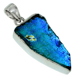 Ancient Roman Glass 925 Sterling Silver Pendant Jewelry 28463P