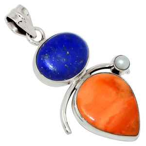 Coral, Lapis & Pearl 925 Sterling Silver Pendant Jewelry 28202P
