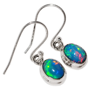 Natural Ethiopian Opal 925 Sterling Silver Earrings Jewelry 29193E