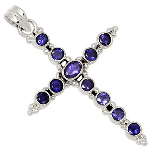 Cross - Iolite 925 Sterling Silver Pendant Jewelry 28060P
