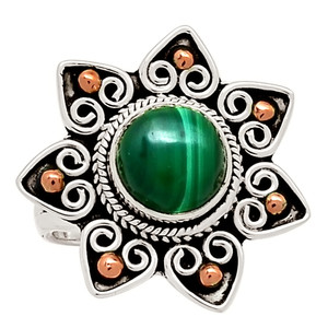 Two Tone - Malachite 925 Sterling Silver Ring Jewelry s.7 29015R
