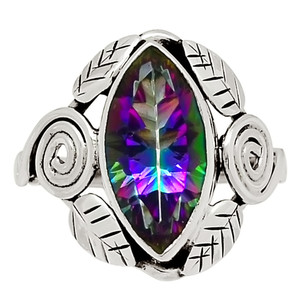 Leaves - Rainbow Topaz 925 Sterling Silver Ring Jewelry s.8.5 29080R
