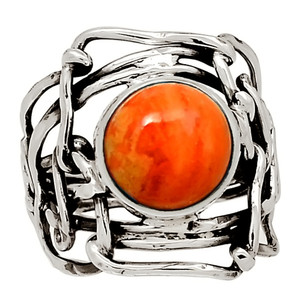 Coral 925 Sterling Silver Ring Jewelry s.7.5 28020R