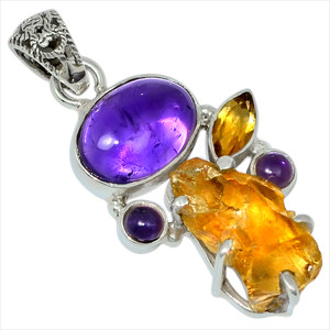 Amethyst & Citrine Rough 925 Sterling Silver Pendant Jewelry 28733P