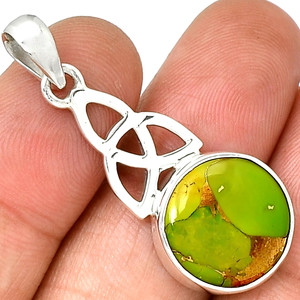 Celtic - Copper Green Turquoise 925 Sterling Silver Pendant Jewelry PP211453
