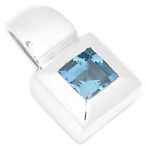 Blue Topaz 925 Sterling Silver Pendant Jewelry P1330B