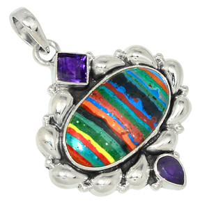 Rainbow Calsilica & Amethyst 925 Sterling Silver Pendant Jewelry 28505P