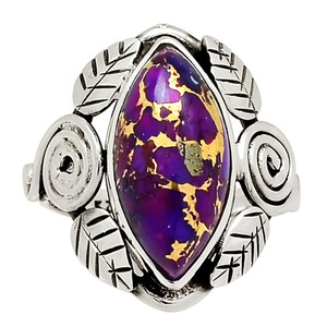 Leaves - Copper Purple Turquoise 925 Sterling Silver Ring Jewelry s.7.5 29110R