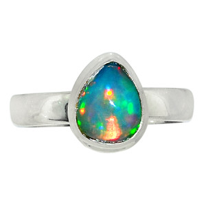 Ethiopian Opal 925 Sterling Silver Ring Jewelry s.8 28326R