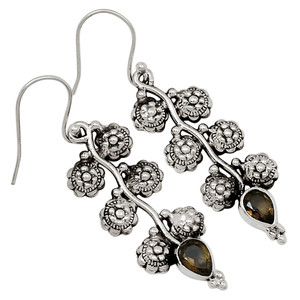 Smokey Quartz 925 Sterling Silver Earrings Jewelry 29203E