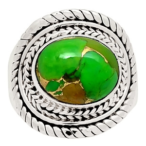 Copper Green Turquoise 925 Sterling Silver Ring Jewelry s.8.5 29043R