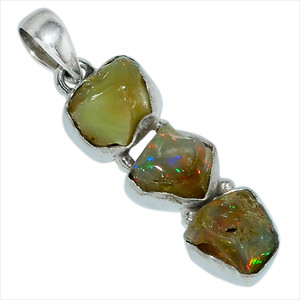 Ethiopian Opal Rough 925 Sterling Silver Pendant Jewelry 28454P