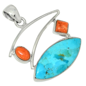 Sleeping Beauty Turquoise & Coral 925 Sterling Silver Pendant Jewelry 28502P