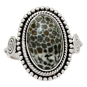 Black Coral 925 Sterling Silver Ring Jewelry s.8.5 29040R