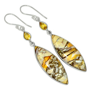 Brecciated Mookaite & Citrine 925 Sterling Silver Earrings Jewelry 31158E