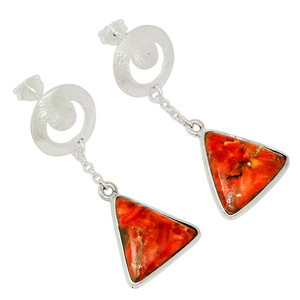 Coral 925 Sterling Silver Earrings Jewelry 30408E