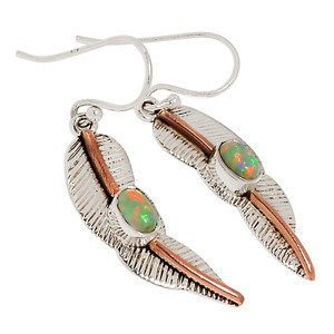 Two Tone - Fire Opal 925 Sterling Silver Earrings Jewelry 30358E
