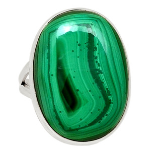 Bulls Eye Malachite - Congo 925 Sterling Silver Ring Jewelry s.6.5 31381R