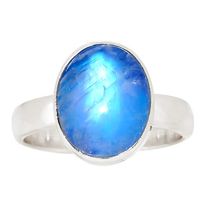 Rainbow Moonstone 925 Sterling Silver Ring Jewelry s.6 30078R