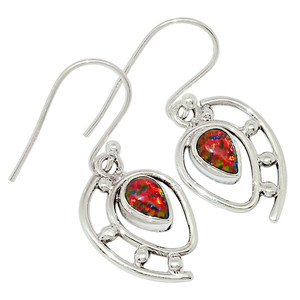 Fire Opal 925 Sterling Silver Earrings Jewelry 31606E