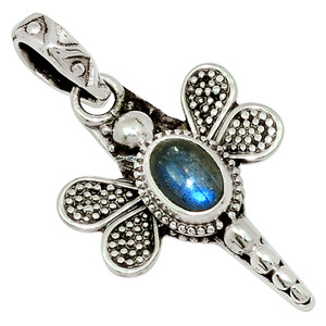 Dragonfly - Labradorite - Madagascar 925 Sterling Silver Pendant Jewelry 30871P