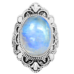 Bali Design - Rainbow Moonstone 925 Sterling Silver Ring Jewelry s.6 12466R