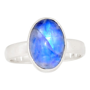 Rainbow Moonstone 925 Sterling Silver Ring Jewelry s.8 30075R