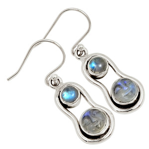 Balinese Goddess Carved Face - Moonstone 925 Silver Earrings Jewelry 30420E