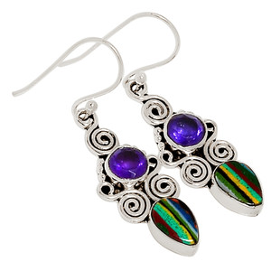 Owl - Rainbow Calsilica & Amethyst 925 Sterling Silver Earrings Jewelry 30361E