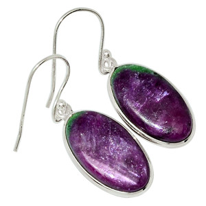 African Ruby With Zosite 925 Sterling Silver Earrings Jewelry 31993E
