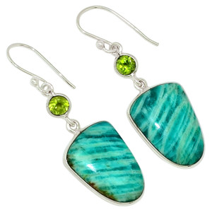 Amazonite & Peridot 925 Sterling Silver Earrings Jewelry 30388E