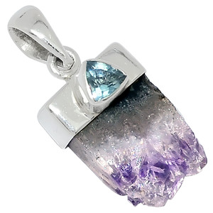 Amethyst - African Stalactites & Blue Topaz 925 Silver Pendant Jewelry 31413P
