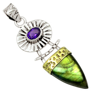 Two Tone - Labradorite & Amethyst 925 Sterling Silver Pendant Jewelry 29920P