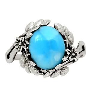 Genuine Larimar - Dominican Republic 925 Sterling Silver Ring Jewelry s.9 31769R