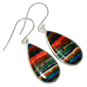 Rainbow Calsilica 925 Sterling Silver Earrings Jewelry 31066E