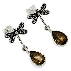 Dragonfly - Smoky Topaz - Brazil 925 Sterling Silver Earrings Jewelry 32015E