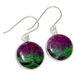 African Ruby With Zosite 925 Sterling Silver Earrings Jewelry 32001E