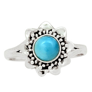 Genuine Larimar - Dominican Republic 925 Sterling Silver Ring Jewelry s.9 30532R