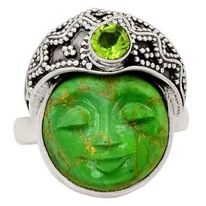 Face - Green Mohave Turquoise & Peridot 925 Silver Ring Jewelry s.8 31780R