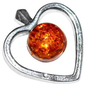 1.15g Apple Heart Authentic Baltic Amber 925 Sterling Silver Pendant Jewelry A661A